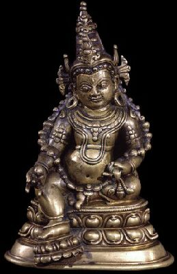 Tibet, 13th century circa., copper alloy, 18,3 cm, Jambhala with attributes (citron fruit and mongoose) private collection