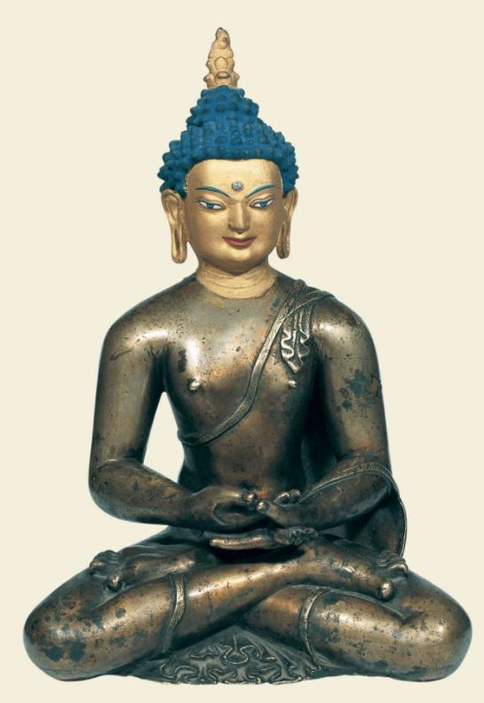 12th-13th century, Tibet, buddha Shakyamuni, brass, cold gold on face, pigments, at the Jokhang, published by Ulrich Von Schroeder