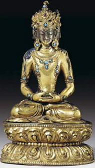 16th century, Tibet, buddha Vairocana, gilt bronze with silver plated face and turquoise inlay, private collection