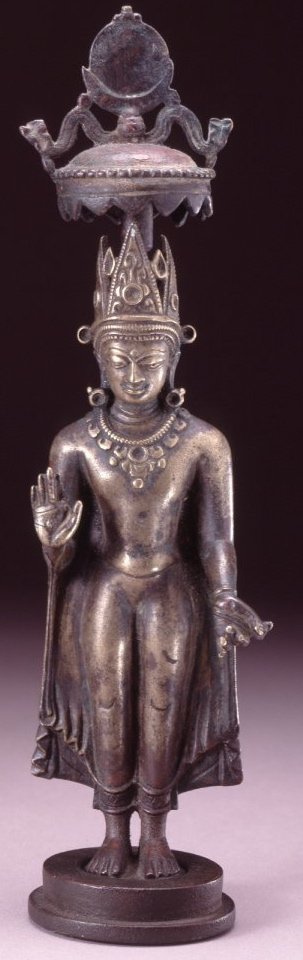 10th-11th century, Northeast India, Pala Period, standing buddha Shakyamuni, bronze, at the British Museum (London)