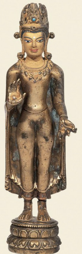 11th-12th century, Northeast India, late Pala style, standing buddha Shakyamuni, at the Tsug Lakhang in Lhassa, published by Von Schroeder.