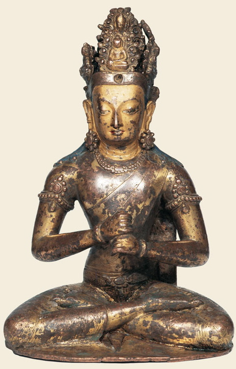 11th century circa, Tibet, buddha Vairocana, copper with traces of gilding, at the gTsug Lakhang, Lhasa, published by Ulrich von Schroeder