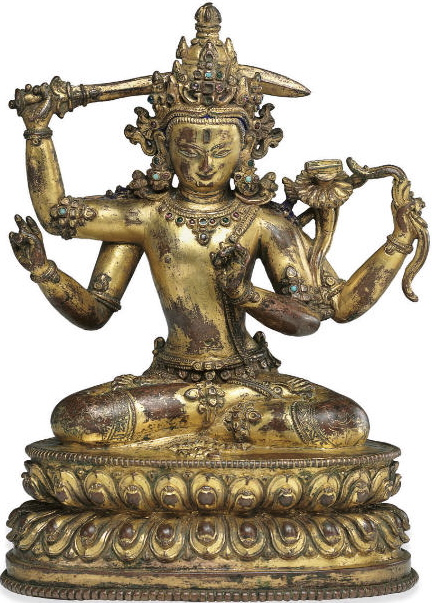 14th century, Nepal, Early Malla period, bodhisattva Manjushri, gilt copper inlaid with stones, published by Christie's.