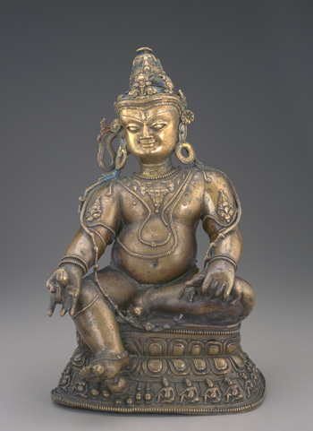 13th century, Western Tibet, Yellow Jambhala, bronze, at the Freer Sackler Gallery.