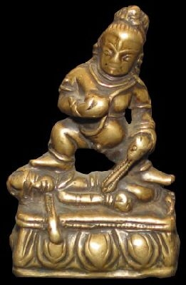 14th century, Tibet, Black Jambhala, copper alloy, private collection on Himalayan Art Resources.