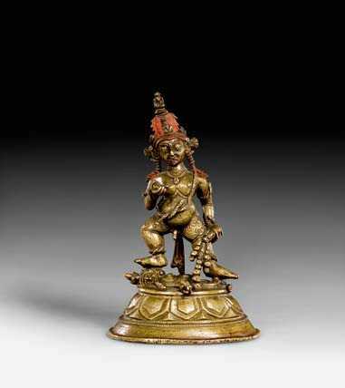 14th century, Tibet, Black Jambhala, copper alloy and pigment, photo by Koller auctions.