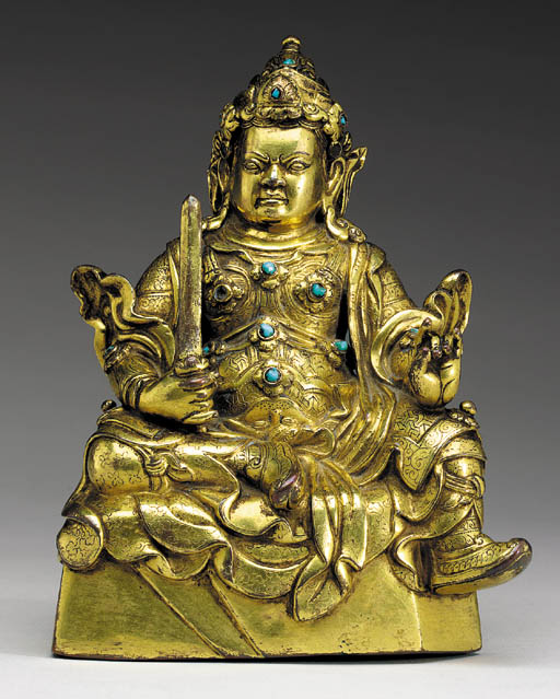 16th century, Tibet, Virudhaka, gilt copper alloy inlaid with stones, photo by Christie's.