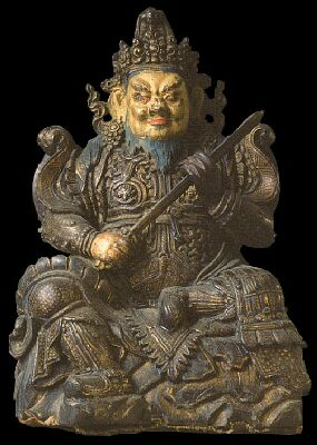 17th century, Tibet, Virudhaka, painted wood, at the Museum der Kulturen in Basel, published on Himalayan Art Resources.