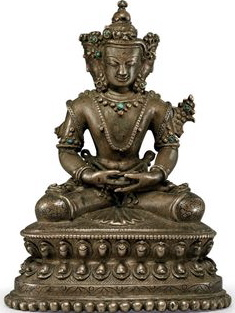 14th-15th century, Tibet, Vairocana, copper alloy with stone inlay, photo by Christie's.
