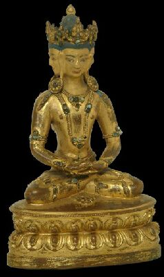 Undated, Tibet, Vairocana, gilt copper alloy with turquoise inlay, at Tibet House Museum in New Delhi, photo on Himalayan Art Resources.