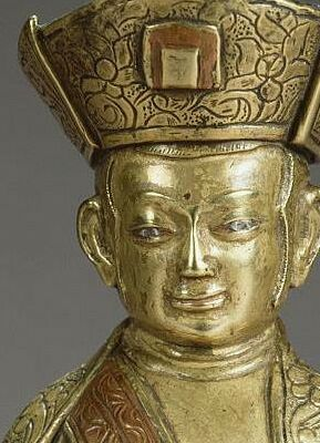 15th c?, Tibet, Drugpa lama, bronze, head