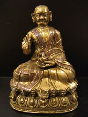 16th century, Tibet, lama, copper alloy with copper inlay, private collection, published on Himalayan Art Resources.