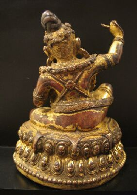 Mahasiddha Virupa, 15th c., Tibet, gilt cop., Nyingjei Lam, back