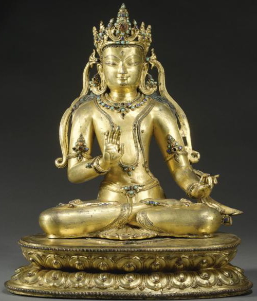14th-15th century, Tibet, Maitreya, gilt copper with stone inlay, private collection, photo by Sotheby's.