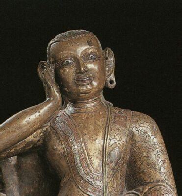 Milarepa, Tibet, 15th c., c.a.+sil.+c. inlay, close up HAR