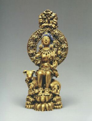 17th century, Tibet, Avalokiteshvara, brass with cold gold and pigments, private collection, published on Himalayan Art Resources.