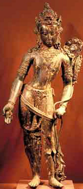 13th century, Nepal, Avalokiteshvara, gilt copper and stone inlay, at the Los Angeles County Museum of Art.