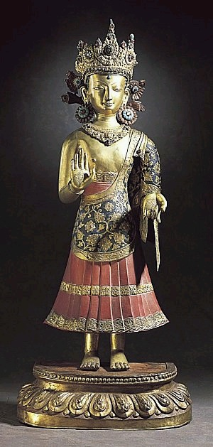 First half of the 17th century, Nepal, Dipankara, gilt and enamelled copper, at the Norton Simon Museum (USA).