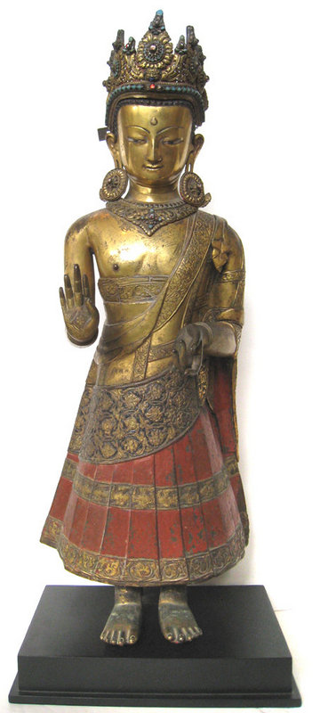 17th century, Nepal, Dipankara, gilt copper and paint, private collection.