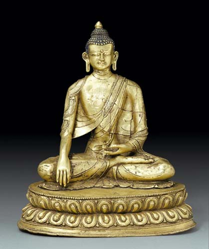 15th-16th century, Tibet, Shakyamuni, gilt copper alloy, private collection, photo by Koller.