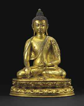 15th century, Tibet, Shakyamuni, gilt copper alloy, private collection, photo by Christie's.