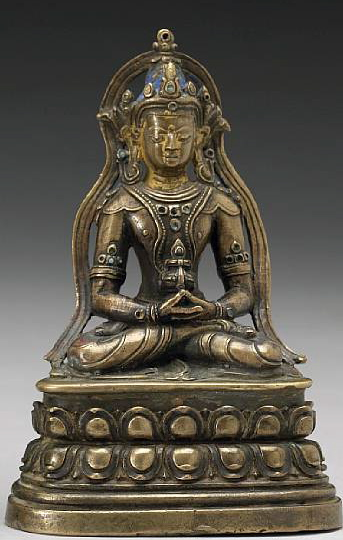 14th-15th century, Tibet, Amitayus, brass with cold gold and pigments, stone inlay, private collection, published on Himalayan Art Resources.