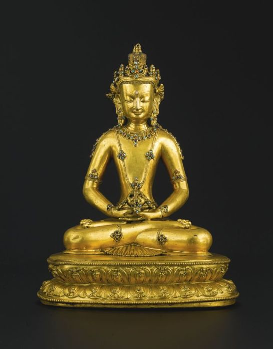 14th century, Tibet, Amitayus, gilt copper alloy and stone inlay, private collection, photo by Koller.