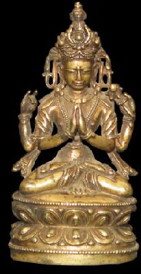 15th century, Tibet, Shadakshari Lokeshvara, copper alloy, private collection, published on Himalayan Art Resources.